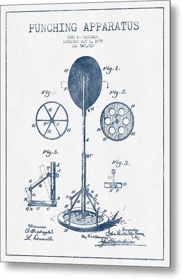 Punching Apparatus Patent Drawing From 1895 -  Blue Ink Metal Print by Aged Pixel