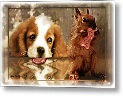 Pup And Squirrel Metal Print by John Breen