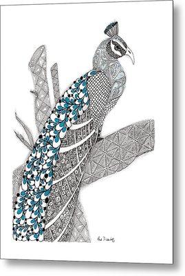 Purdy Peacock Metal Print by Paula Dickerhoff