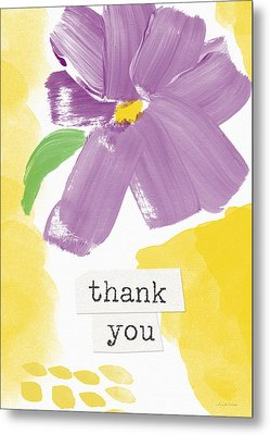 Purple Flower Thank You Card- Art By Linda Woods Metal Print by Linda Woods