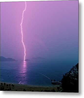 Purple Glow Of Lightning Metal Print by Judi Mowlem