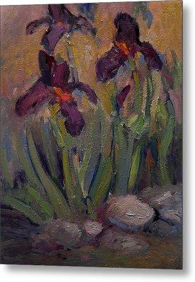 Purple Iris In Shade Metal Print by R W Goetting