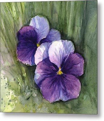 Purple Pansies Watercolor Metal Print by Olga Shvartsur