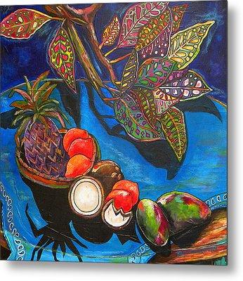 Purple Pineapple Metal Print by Patti Schermerhorn