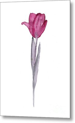 Purple Tulip Botanical Artwork Poster Metal Print by Joanna Szmerdt
