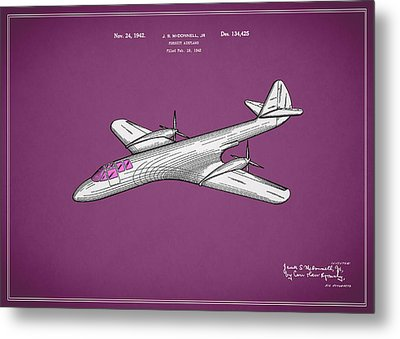 Pursuit Airplane Patent 1942 Metal Print by Mark Rogan