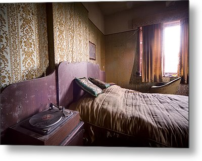 Put On A Record Nighttime Music - Urban Exploration Metal Print by Dirk Ercken