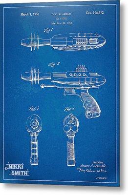 Pyrotomic Disintegrator Pistol Patent Metal Print by Nikki Marie Smith