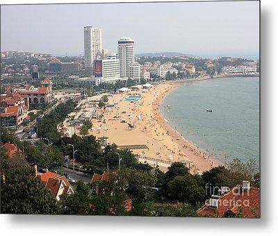 Qingdao Beach With Skyline Metal Print by Carol Groenen
