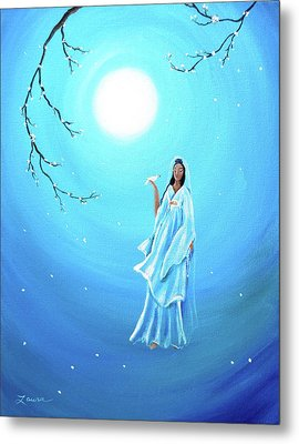 Quan Yin In Teal Moonlight Metal Print by Laura Iverson