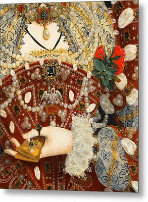 Queen Elizabeth I   Detail From The Pelican Portrait Metal Print by Nicholas Hilliard