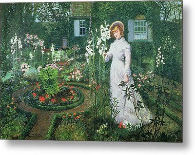 Queen Of The Lilies Metal Print by John Atkinson Grimshaw