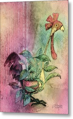 Quirky Rooster Planter Metal Print by Arline Wagner
