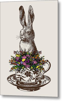 Rabbit In A Teacup Metal Print by Eclectic at HeART