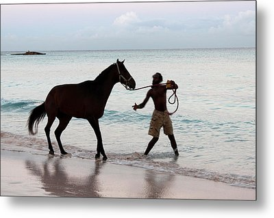 Race Horse And Groom 1 Metal Print by Barbara Marcus