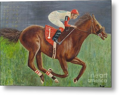 Race Horse Big Brown Metal Print by Anthony Morretta