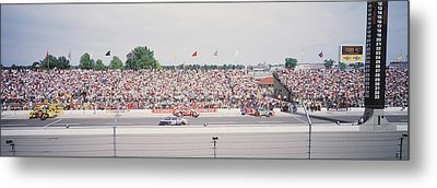 Racecars On A Motor Racing Track Metal Print by Panoramic Images
