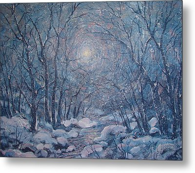 Radiant Snow Scene Metal Print by Leonard Holland