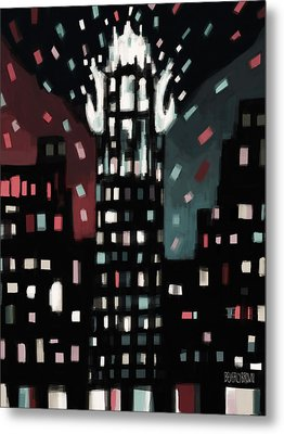 Radiator Building Night Metal Print by Beverly Brown Prints
