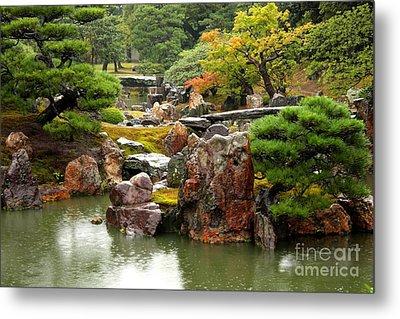 Rain On Kyoto Garden Metal Print by Carol Groenen