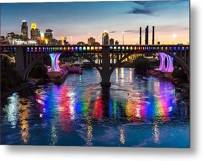 Rainbow Bridge In Minneapolis Metal Print by Jim Hughes