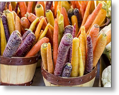 Rainbow Carrots At The Market Metal Print by Teri Virbickis