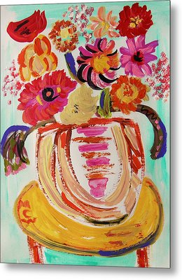 Rainbow In The Vase Metal Print by Mary Carol Williams