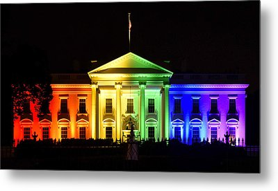 Rainbow White House  - Washington Dc Metal Print by Brendan Reals