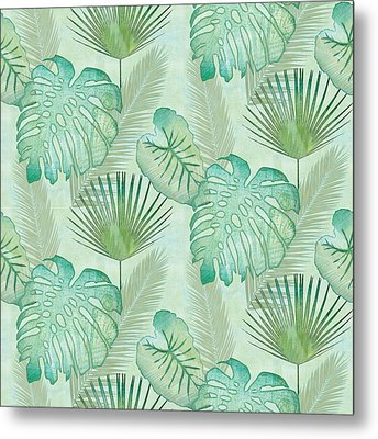 Rainforest Tropical - Elephant Ear And Fan Palm Leaves Repeat Pattern Metal Print by Audrey Jeanne Roberts