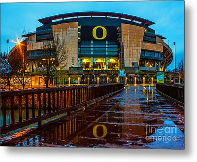 Rainy Autzen Stadium Metal Print by Michael Cross