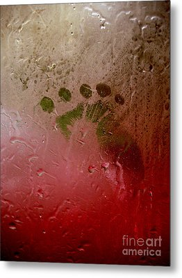 Rainy Day Hand Fist Footprint Metal Print by Anna Lisa Yoder