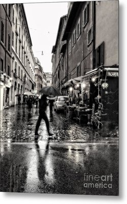 rainy night in Rome Metal Print by HD Connelly