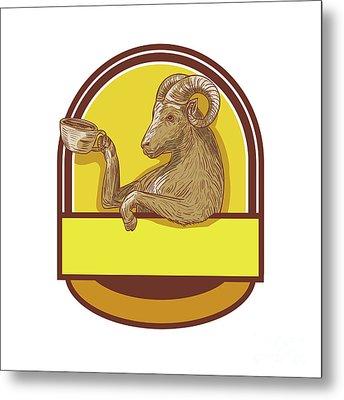 Ram Goat Drinking Coffee Crest Drawing Metal Print by Aloysius Patrimonio