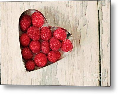 Raspberry Heart Metal Print by Kim Fearheiley