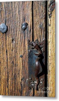 Rattlesnake Door Handle Mission San Xavier Del Bac Metal Print by Thomas R Fletcher