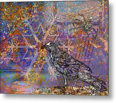 Raven And Spider Metal Print by Mary Ogle