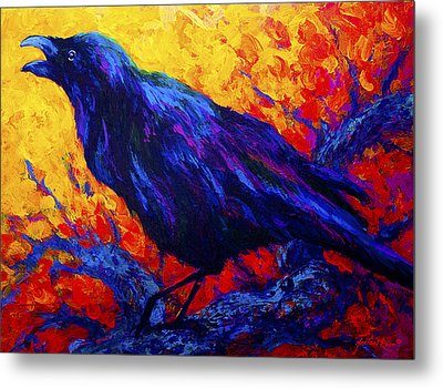 Raven's Echo Metal Print by Marion Rose