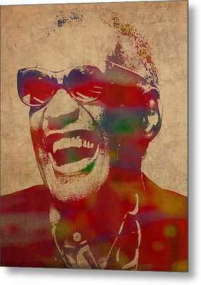 Ray Charles Watercolor Portrait On Worn Distressed Canvas Metal Print by Design Turnpike
