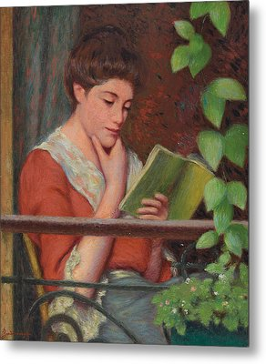 Reading Al Fresco Metal Print by Federigo Zandomeneghi
