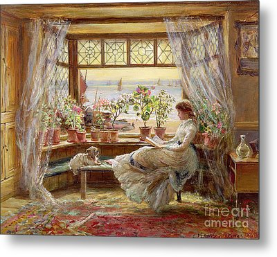 Reading By The Window Metal Print by Charles James Lewis