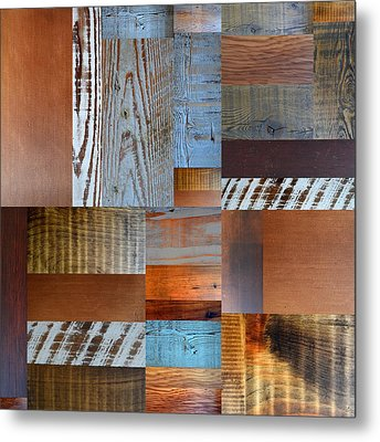 Reclaimed Wood Collage 1.0 Metal Print by Michelle Calkins