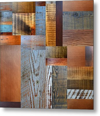 Reclaimed Wood Collage 2.0 Metal Print by Michelle Calkins