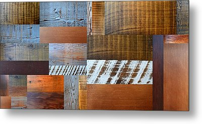 Reclaimed Wood Collage 4.0 Metal Print by Michelle Calkins