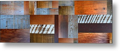 Reclaimed Wood Collage 5.0 Metal Print by Michelle Calkins