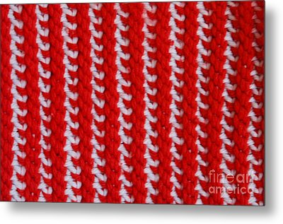Red And White Knit Metal Print by AnnaJo Vahle