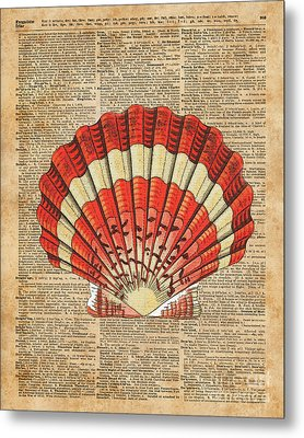 Red And White Ocean Sea Shell Dictionary Book Page Art Metal Print by Jacob Kuch