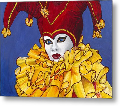 Red And Yellow Carnival Jester Metal Print by Patty Vicknair