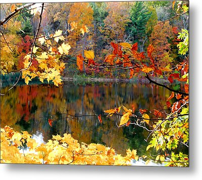 Red Autumn Leaves Reflecting In The Water 1 Metal Print by Lanjee Chee