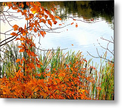 Red Autumn Leaves Reflecting In The Water 3 Metal Print by Lanjee Chee