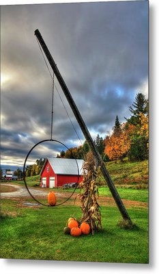 Red Barn And Pumpkins In Autumn - Vermont Metal Print by Joann Vitali